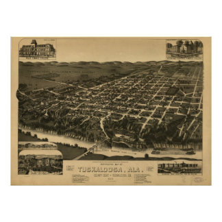 Vintage Pictorial Map of Tuscaloosa Alabama (1887) Poster