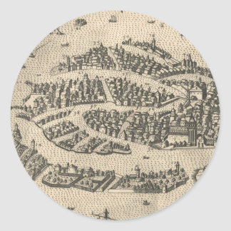 Vintage Pictorial Map of Venice Italy (1573) Classic Round Sticker