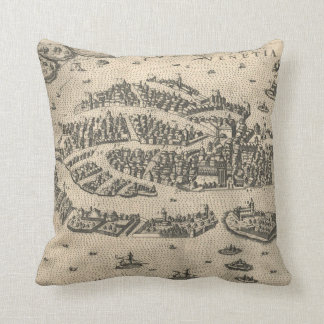Vintage Pictorial Map of Venice Italy (1573) Pillows