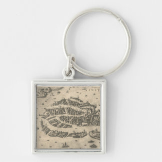 Vintage Pictorial Map of Venice Italy (1573) Silver-Colored Square Keychain
