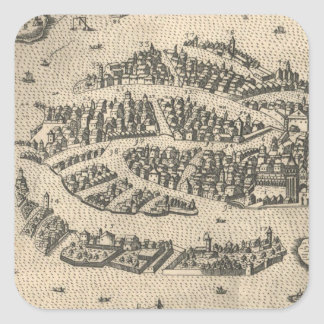 Vintage Pictorial Map of Venice Italy (1573) Square Sticker