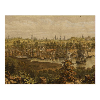 Vintage Pictorial Map of Victoria Vancouver 1860 Postcards