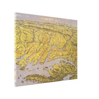 Vintage Pictorial Map of Virginia (1861) Canvas Print