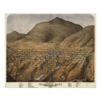 Vintage Pictorial Map of Virginia City Nevada Poster