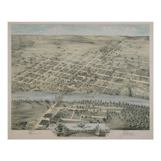Vintage Pictorial Map of Waco Texas (1873) Poster