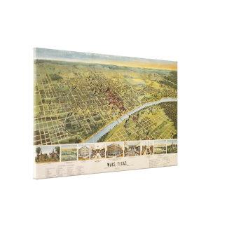Vintage Pictorial Map of Waco Texas 1892 Canvas Print