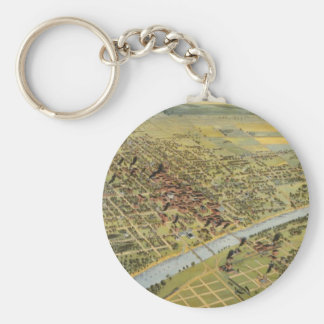 Vintage Pictorial Map of Waco Texas (1892) Keychain