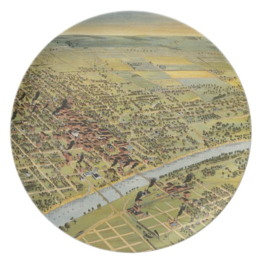 Vintage Pictorial Map of Waco Texas (1892) Melamine Plate