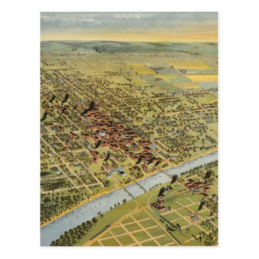 Vintage Pictorial Map of Waco Texas (1892) Post Cards