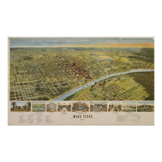 Vintage Pictorial Map of Waco Texas (1892) Poster