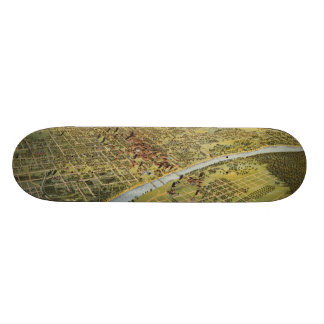 Vintage Pictorial Map of Waco Texas (1892) Skateboard
