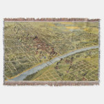 Vintage Pictorial Map of Waco Texas (1892) Throw
