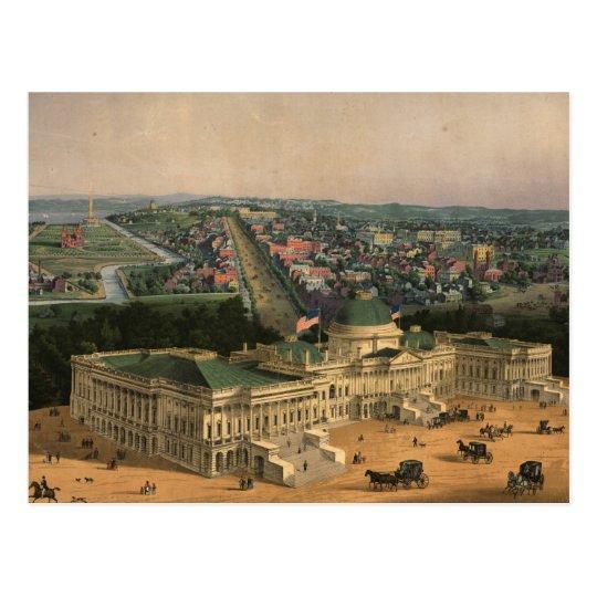 Vintage Pictorial Map of Washington D.C. (1852) Postcard