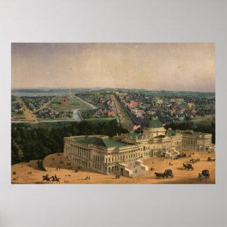 Vintage Pictorial Map of Washington D.C. (1852) Poster
