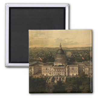 Vintage Pictorial Map of Washington D.C. (1857) 2 Inch Square Magnet
