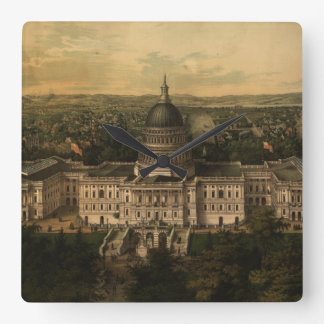 Vintage Pictorial Map of Washington D.C. (1857) Square Wall Clock