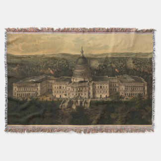 Vintage Pictorial Map of Washington D.C. (1857) Throw