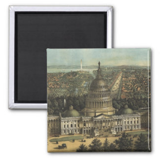 Vintage Pictorial Map of Washington D.C. (1871) 2 Inch Square Magnet