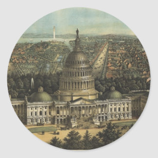 Vintage Pictorial Map of Washington D.C. (1871) Classic Round Sticker