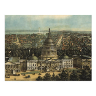 Vintage Pictorial Map of Washington D.C. (1871) Post Card