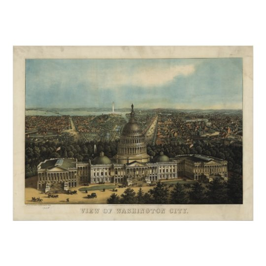 Vintage Pictorial Map of Washington D.C. (1871) Poster
