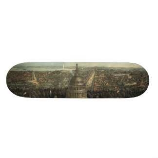 Vintage Pictorial Map of Washington D.C. (1871) Skate Deck