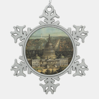 Vintage Pictorial Map of Washington D.C. (1871) Snowflake Pewter Christmas Ornament