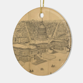 Vintage Pictorial Map of Washington D.C. (1872) Ceramic Ornament
