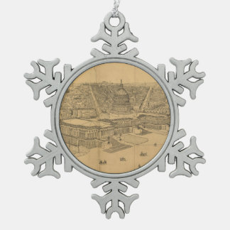 Vintage Pictorial Map of Washington D.C. (1872) Snowflake Pewter Christmas Ornament