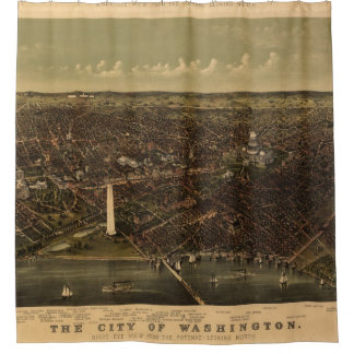 Vintage Pictorial Map of Washington D.C. (1892) Shower Curtain