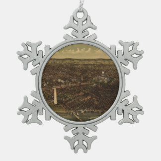 Vintage Pictorial Map of Washington D.C. (1892) Snowflake Pewter Christmas Ornament
