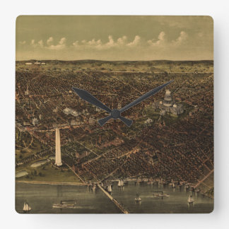 Vintage Pictorial Map of Washington D.C. (1892) Square Wall Clock