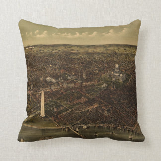 Vintage Pictorial Map of Washington D.C. (1892) Throw Pillow