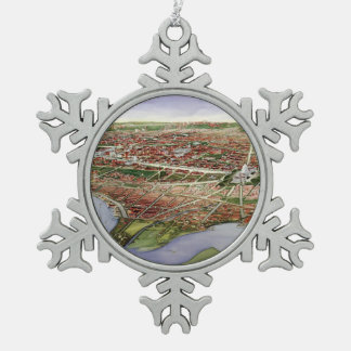 Vintage Pictorial Map of Washington D.C. (1901) Snowflake Pewter Christmas Ornament
