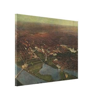 Vintage Pictorial Map of Washington D.C. (1916) Canvas Print