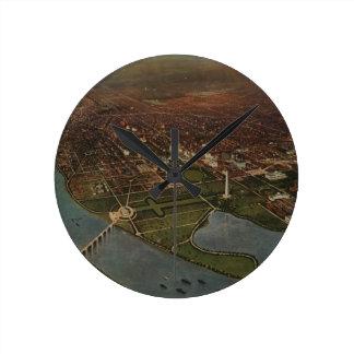 Vintage Pictorial Map of Washington D.C. (1916) Round Clock