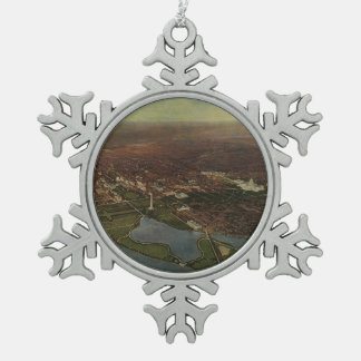 Vintage Pictorial Map of Washington D.C. (1916) Snowflake Pewter Christmas Ornament