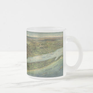 Vintage Pictorial Map of West Palm Beach (1915) Frosted Glass Coffee Mug