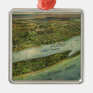 Vintage Pictorial Map of West Palm Beach (1915) Metal Ornament