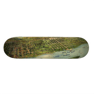 Vintage Pictorial Map of West Palm Beach (1915) Skateboard