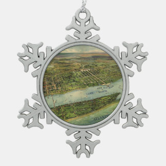 Vintage Pictorial Map of West Palm Beach (1915) Snowflake Pewter Christmas Ornament