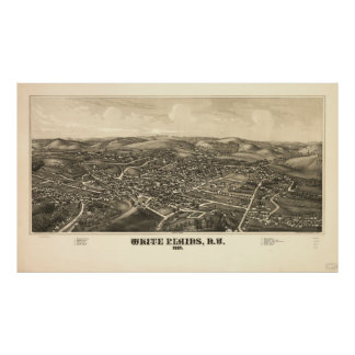 Vintage Pictorial Map of White Plains NY (1887) Poster