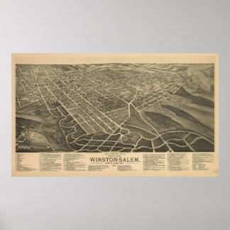 Vintage Pictorial Map of Winston-Salem NC (1891) Poster