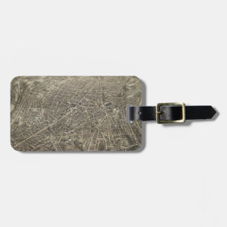 Vintage Pictorial Map of Worcester MA (1878) Luggage Tag