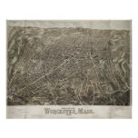 Vintage Pictorial Map of Worcester MA (1878) Poster