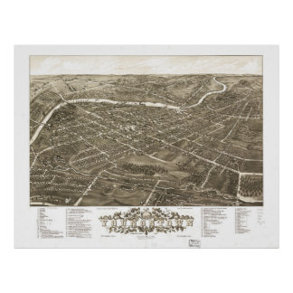 Vintage Pictorial Map of Youngstown Ohio (1883) Poster