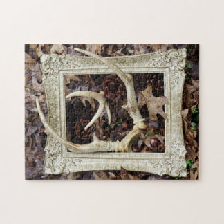 Vintage Picture Frame And White Tail Deer Antlers Jigsaw Puzzle