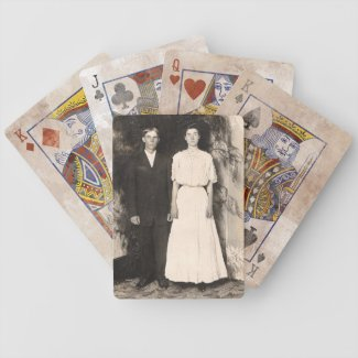 Vintage Picture of a Wedding Couple Poker Deck