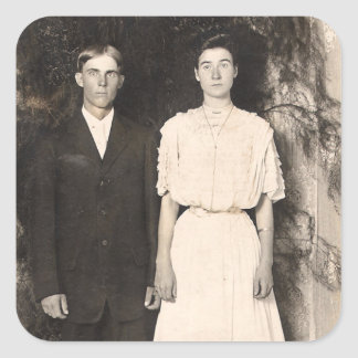 Vintage Picture of a Wedding Couple Square Sticker