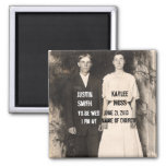 Vintage Picture of Bride and Groom Save the Date 2 Inch Square Magnet